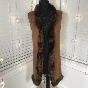 Code ❤️ Vegan Suede Faux Fur Trim Sleeveless Vest